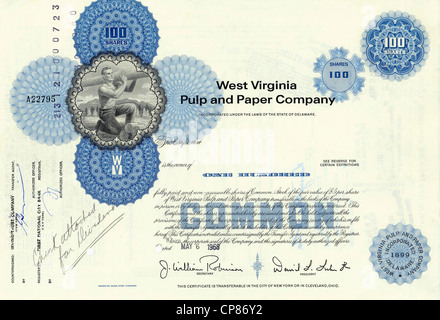 Historic share certificate, West Virginia Pulp and Paper Company, paper industry, 1968, Delaware, USA, Historische - Stock Image