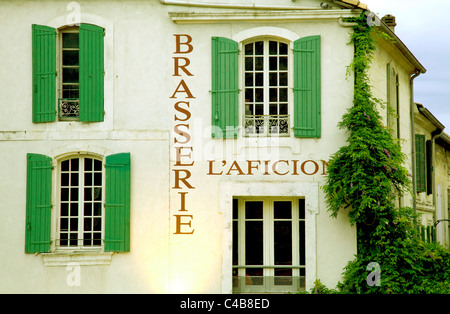 Arles; Bouches du Rhone, France; One of the restaurants facing the Amphiteatre - Stock Image
