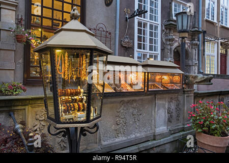 Amber shop display Mariacka Street Gdańsk Poland - Stock Image