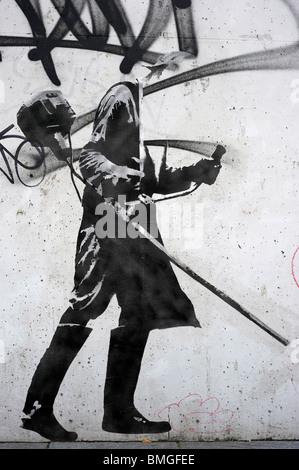 LET wheatpaste graffiti artwork minesweeper dusseldorf - Stock Image