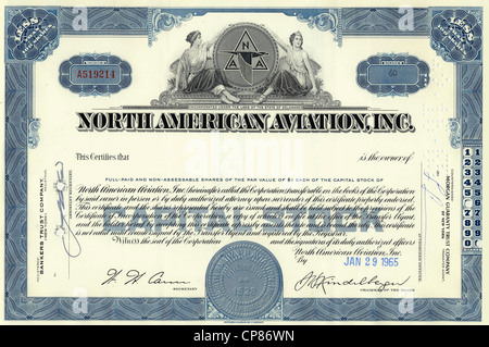 Historic share certificate, North American Aviation Inc., US-American aircraft manufacturer, today a part of Boeing, - Stock Image