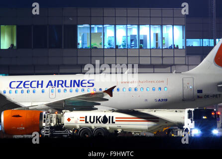 Lukoil Refuelling a Czech Airlines Plane on Ruzyne Airport - Stock Image