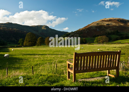 Empty Bench with a picturesque view across a valley floor of fields with sheep in them to rugged Cumbrian hills - Stock Image