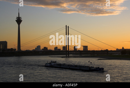 Rheinknie Suspension Bridge and  Media Port Rhine Tower River Rhine Dusseldorf Germany - Stock Image