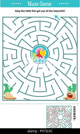 Maze game: Help the little fish get out of the labyrinth. Answer included. - Stock Image