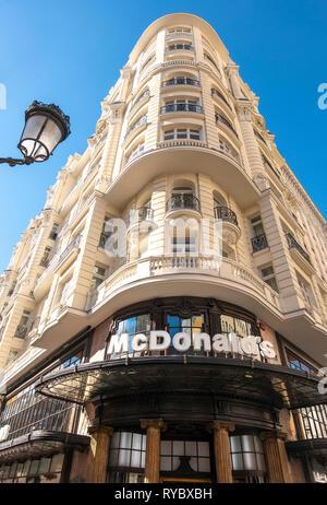 McDonalds restaurant on the corner of Gran Via and Calle de la Montera in Madrid Spain Europe. - Stock Image