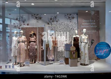 Shop window, Dress shop, female clothes, dresses, - Stock Image
