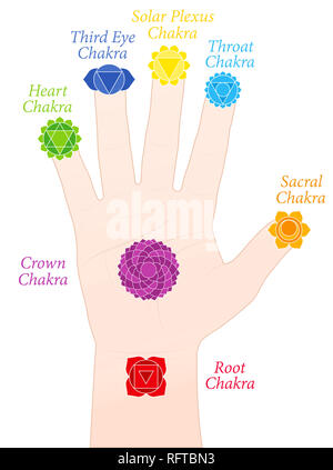 Palm chakras. Symbols and names of the main chakras at the corresponding parts of the hands - illustration on white background. - Stock Image