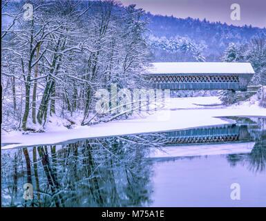 Covered bridge in winter , Hillsborough County, New Hampshire Winter scene in Southern New Hampshire - Stock Image