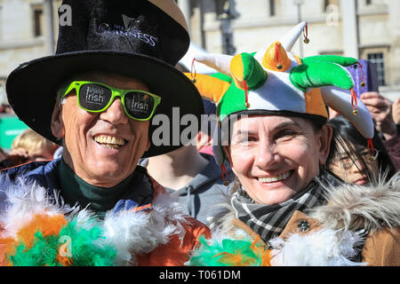 London celebrates with a spectacular St Patrick's Day parade, led by this year's Grand Marshal, actor James Nesbitt. Now in its 17th year, the parade attracts more than 50,000 people for a colourful procession of Irish marching bands from the UK, US and Ireland, energetic dance troupes and spectacular pageantry. Credit: Imageplotter/Alamy Live News - Stock Image