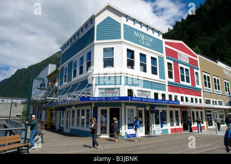 People strawling the streets of down town Juneau, The Capital of Alaska, Northern America - Stock Image