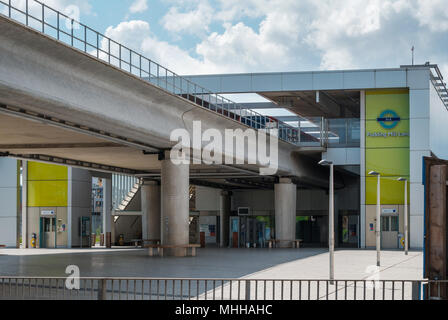 Pudding Mill Lane DLR station adjacent to the Olympic Park in East London. It reopened in 2014 after being moved slightly to accomodate Crossrail. - Stock Image