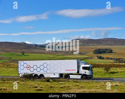 NFT Chilled food distribution HGV. Thinking ahead.  M6 Northbound carriageway, Shap, Cumbria, England, United Kingdom, Europe. - Stock Image