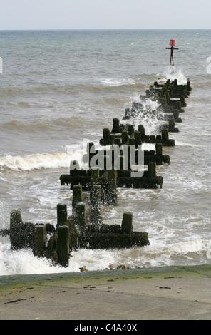 Sea Defences, Sherringham, Norfolk Coast, UK. - Stock Image