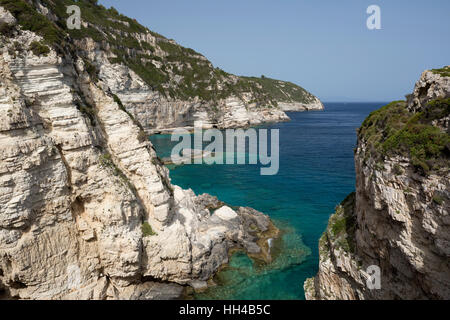 View along west coast from Trypitos Arch, Paxos, Ionian Islands, Greek Islands, Greece, Europe - Stock Image