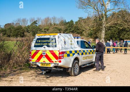 HM Coastguard search and rescue at Holkham Nature reserve, North Norfolk coast, England, UK. - Stock Image