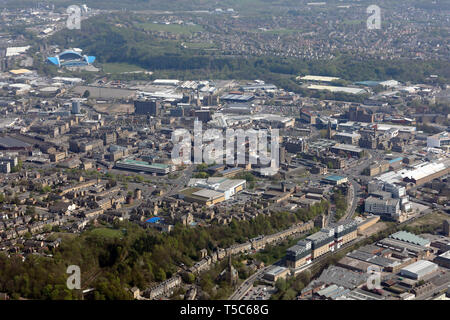 aerial view of Huddersfield town centre, West Yorkshire - Stock Image