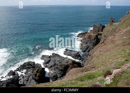 Abandoned Tin Mine on the rocky coast at Botallack near St Just on the North Coast of Cornwall England was used - Stock Image