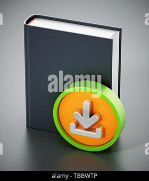 Book with download arrow icon. 3D illustration. - Stock Image