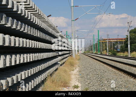 A stack of rails ready to be installed - Stock Image