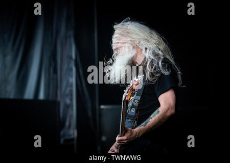 Copenhagen, Denmark. 21st June, 2019. Copenhagen, Denmark - June 21st, 2019. The American heavy metal band Lamb of God performs a live concert during the Danish heavy metal festival Copenhell 2019 in Copenhagen. Here bass player John Campbell is seen live on stage. (Photo Credit: Gonzales Photo/Alamy Live News - Stock Image