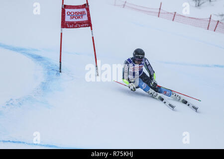 Val d'Isere, France, 08th December 2018. FIS ski world cup. Matts Olsson 3rd after the first run in Val d'Isere Ski World Cup Men's Giant Slalom. Credit: Fabrizio Malisan/Alamy Live News - Stock Image