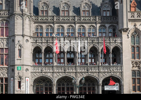 Neo Gothic architectural exterior of the Historium building in Markt, Bruges, Flanders, Belgium - Stock Image