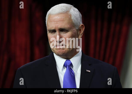 US Vice President Mike Pence waits to swear in US Senators on Capitol Hill in Washington, DC on January 3, 2019. - Stock Image