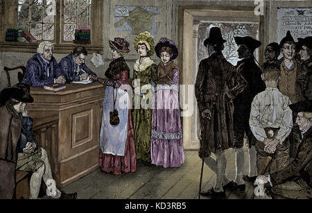 Women voting at the polls in New Jersey - women had the vote from 1790 until 1807, when the General Assembly limited - Stock Image