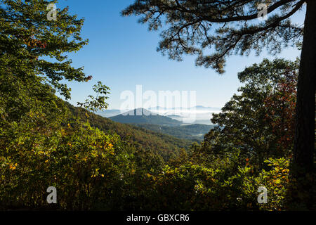 Chestnut Cove overlook on Blue Ridge Parkway road, Asheville, NC, USA - Stock Image