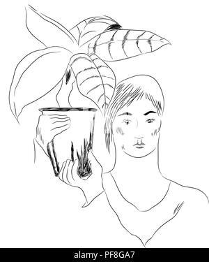 Girl and flower pot.  illustration of girl holding flower pot on the shoulder. - Stock Image
