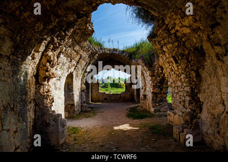 Ancient Side ruins in Turkey Kemer Antalya. Old ruins of the city of Side Turkey - Stock Image