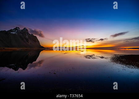 Vestrahorn, on the Stokksnes peninsula in Southeast Iceland, is one of the country's most breathtaking mountains. With peaks reaching up to 454 metres - Stock Image