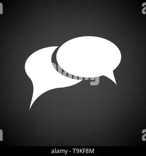 Chat Icon. White on Black Background. Vector Illustration. - Stock Image