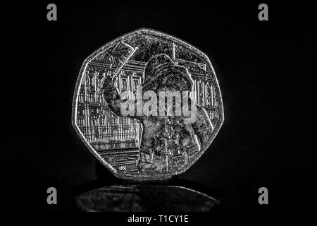 Close up of a UK Paddington's Big Royal Adventure 50p / 50 pence coin celebrating 60 years of the Paddington Bear 2018 - Stock Image