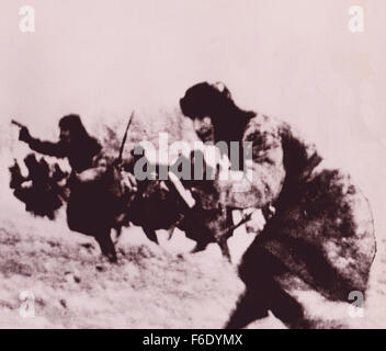 737. WW2 Red Army charge into battle at Stalingrad  1943 winter. - Stock Image