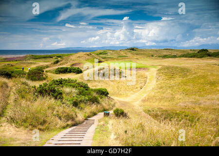Postage Stamp hole 8th at Royal Troon Golf Club, Open 2016 - Stock Image