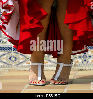 Feet of beautiful blond middle aged Spanish woman in traditional costume Andalucia, Costa del Sol, Spain, Europe, - Stock Image