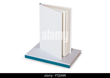 Blank white book on top of another book ready to mockup or cover customization isolated - Stock Image