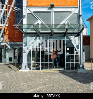 Lisbon, Portugal - Feb 25, 2019: Entrance to Tejo Power Station in Lisbon, Portugal, a former thermoelectric power plant - Stock Image