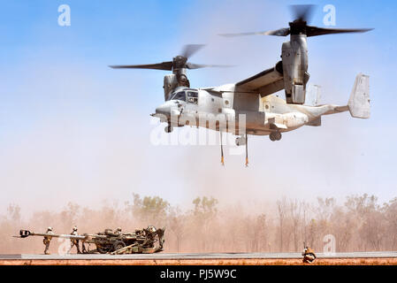 Marines with Marine Medium Tiltrotor Squadron 268 (VMM-268) hook up an M777 Howitzer from Mike Battery, 3rd Battalion, 11th Marine Regiment, to an MV-22 Osprey during Marine Rotational Force – Darwin's Exercise Koolendong at Mount Bundey Training Area, Australia, Aug. 25, 2018. This is the first time an Osprey has lifted and moved a Howitzer in an austere environment in Australia and it is the first time an entire artillery battery deployed in support of MRF-D.    (U.S. Marine Corps photo by Staff Sgt. Daniel Wetzel) - Stock Image