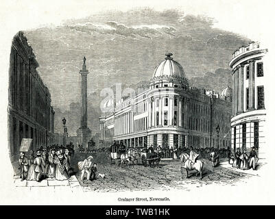 Grainger Street, Newcastle, showing the  Earl Grey's Monument.     Date: circa 1830s - Stock Image