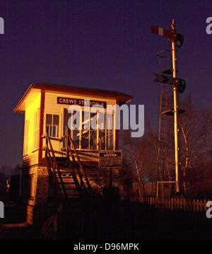 Crewe Station A old signal box at Dusk, Cheshire England, UK - Stock Image