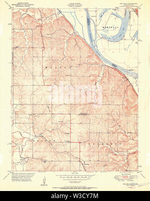 USGS TOPO Map Kansas KS Oak Mills 512140 1951 24000 Restoration - Stock Image