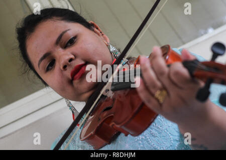 A young beautiful woman playing a wooden stringed musical instrument the violin. - Stock Image