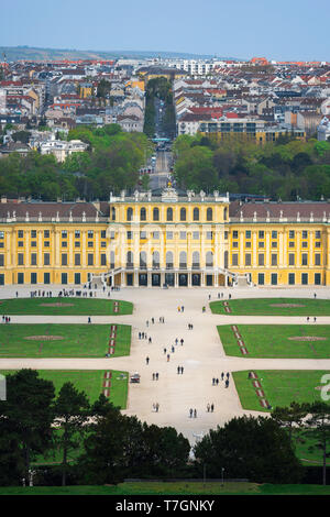 Schonbrunn Austria, view of the parterre garden and baroque exterior of the south side of the Schloss Schönbrunn palace in Vienna, Austria. - Stock Image