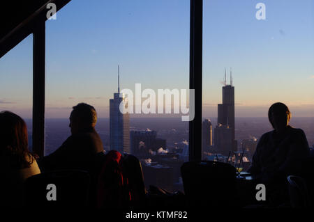 View onto the Sears Tower and Trump Tower from the observation deck on the John Hancock building. Chicago, Illinois, - Stock Image