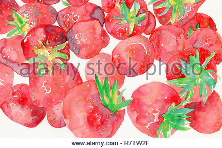 Watercolor painting of fresh strawberries - Stock Image