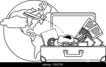 Suitcase design, Travel baggage luggage bag tourism vacation and trip theme Vector illustration - Stock Image