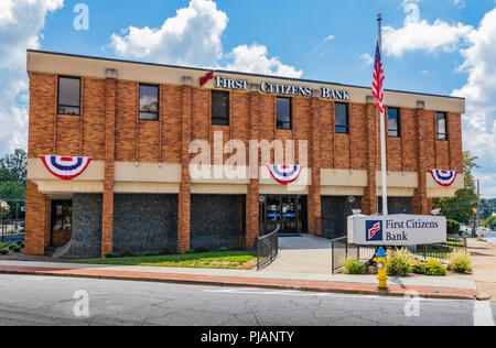 NEWTON, NC, USA-9/2/18: A Newton Branch of the First Citizens Bank, based in Raleigh, NC, and operating in 18 states and Washington, DC. - Stock Image